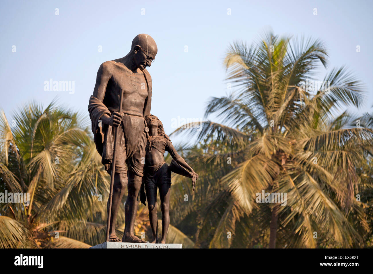 Mahatma Gandhi statue, Velha Goa or Old Goa, near Panaji or Panjim, Goa, India Stock Photo