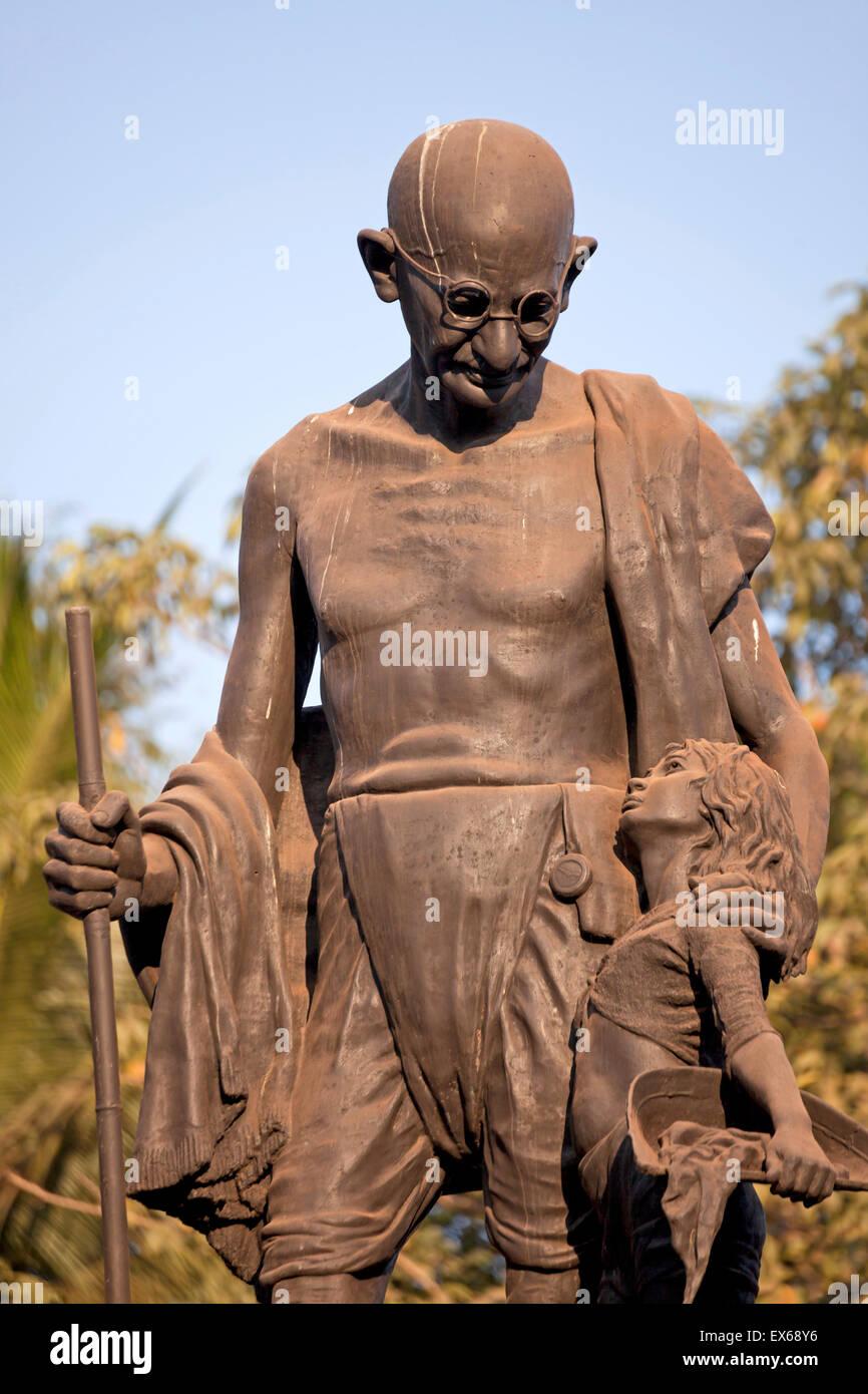 Mahatma Gandhi statue, Velha Goa or Old Goa, near Panaji or Panjim, Goa, India - Stock Image