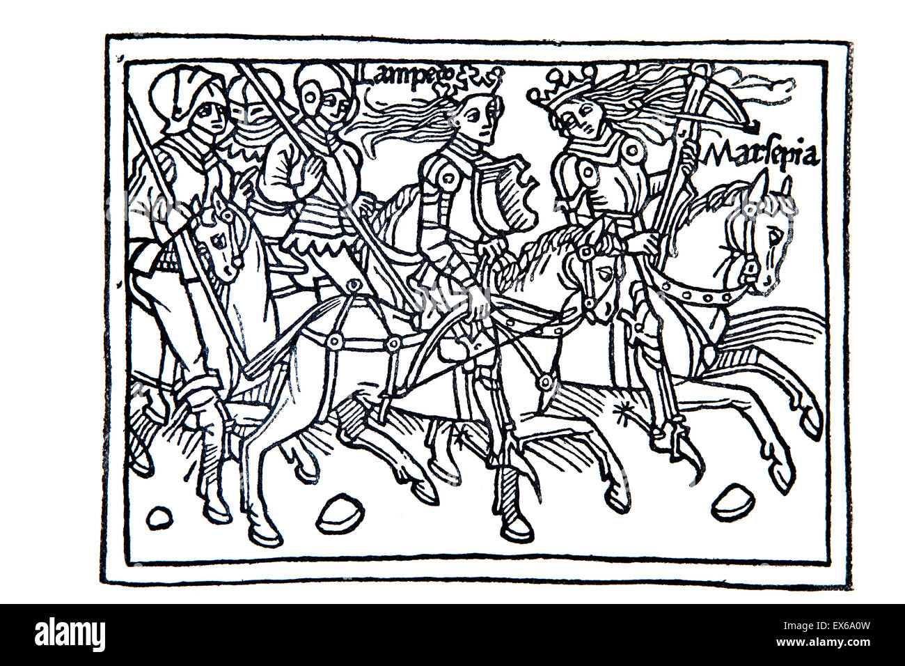 Knights in armour on horseback woodcut from Boccaccio's de claris mulieribus (on famous women), published in - Stock Image