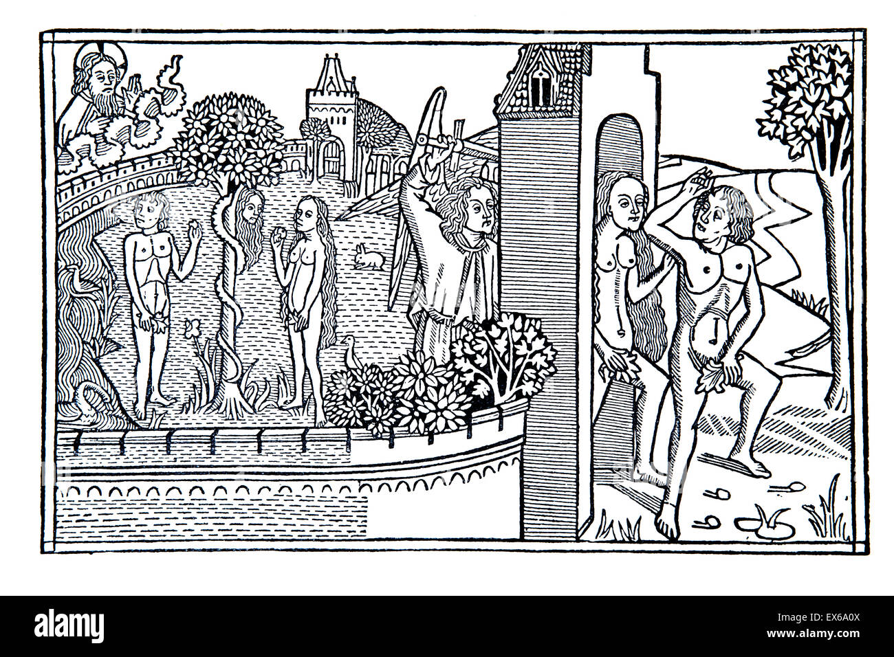expulsion of Adam and Eve from the garden of Eden, woodcut from 1489 German Bible - Stock Image
