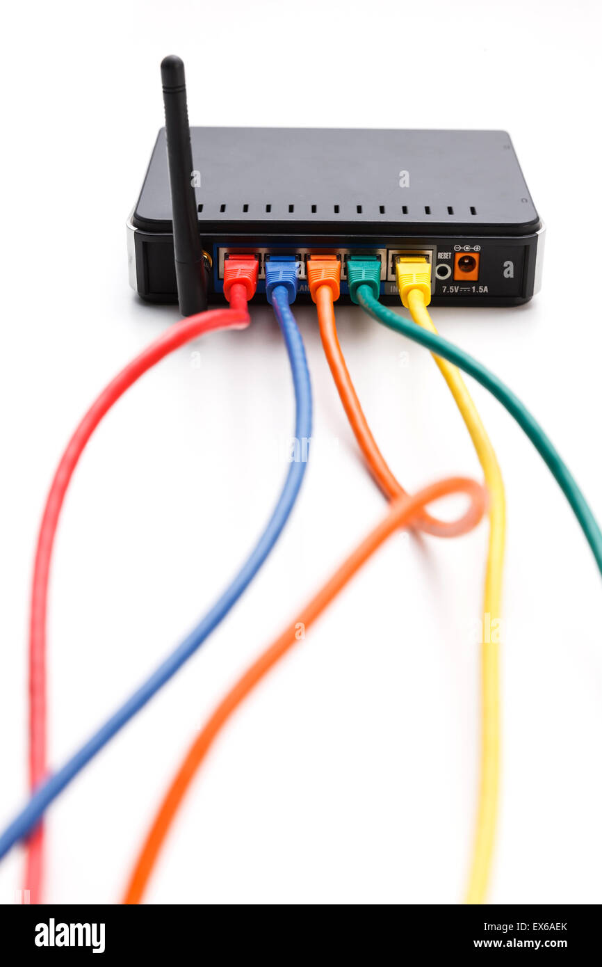 Close-up of cables plugged into the back of wlan router Stock Photo ...