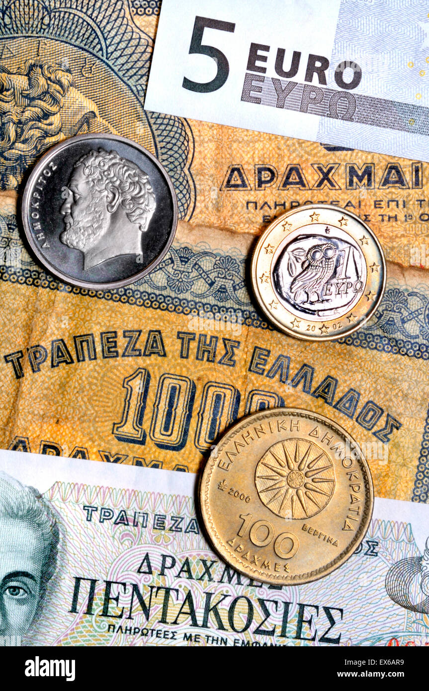 Greek currency from different periods - notes from 1941 and 1983 - Stock Image
