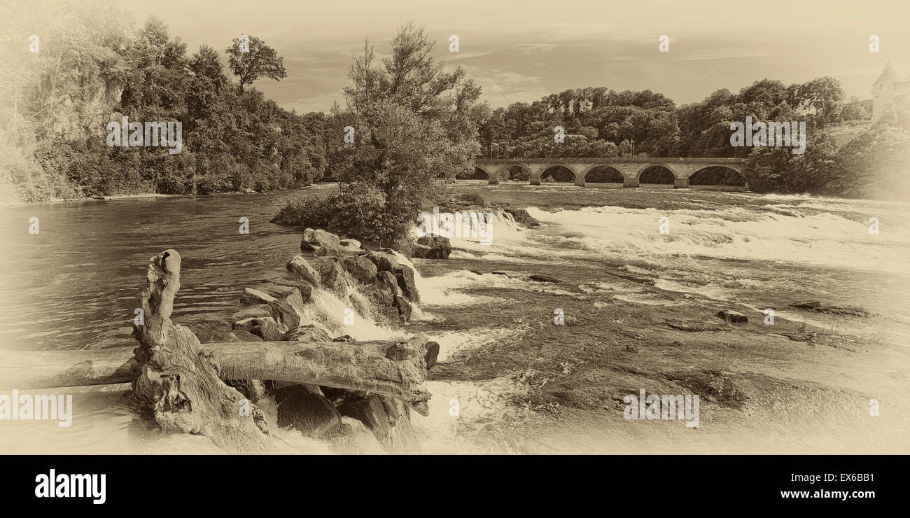 At the Rhine Falls, Schaffhausen, Switzerland. - Stock Image