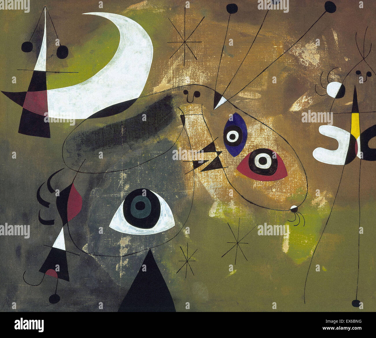 Joán Miró  Painting (Personage and Moon) - Stock Image