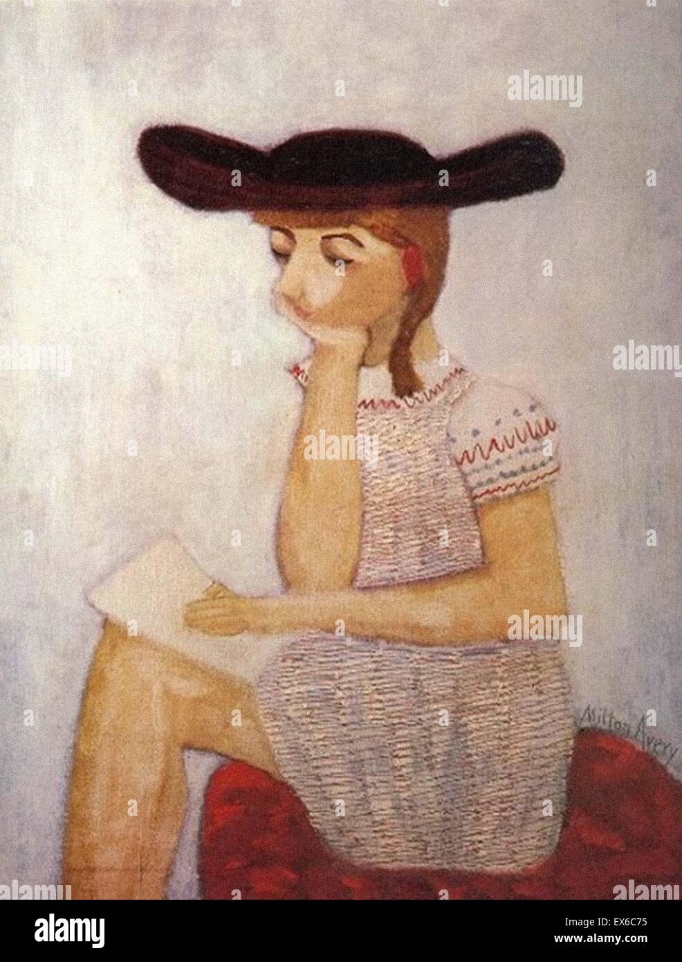 Milton Avery  The Brown Hat - Stock Image