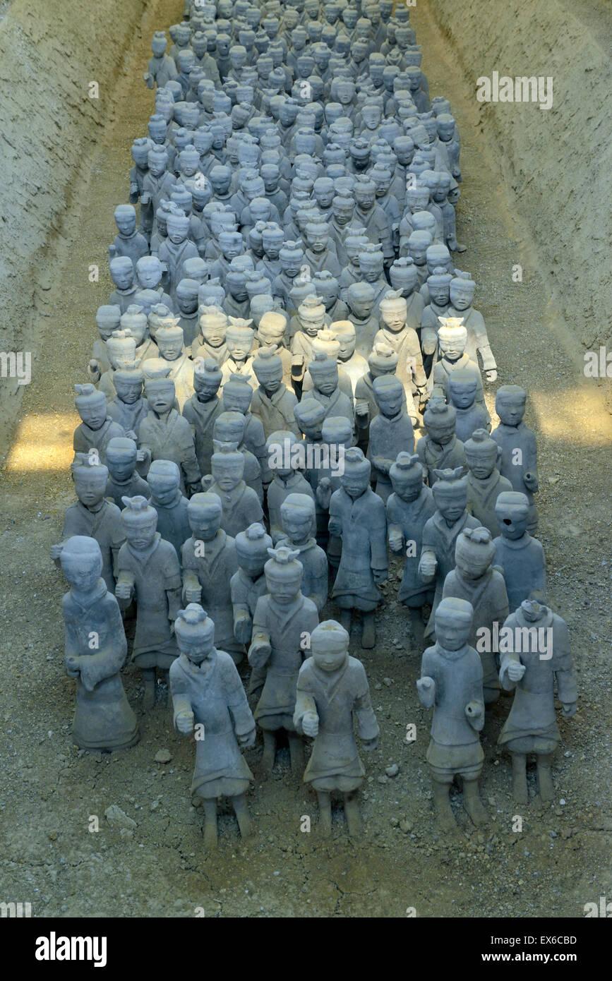 Terracotta Warriors and Horses of Han Dynasty in Xuzhou, Jiangsu province, China. - Stock Image