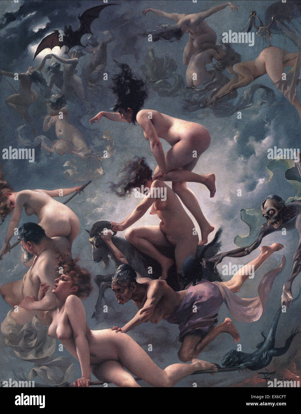 Luis Ricardo Falero  The Vision of Faust (The Departure of the Witches) - Stock Image