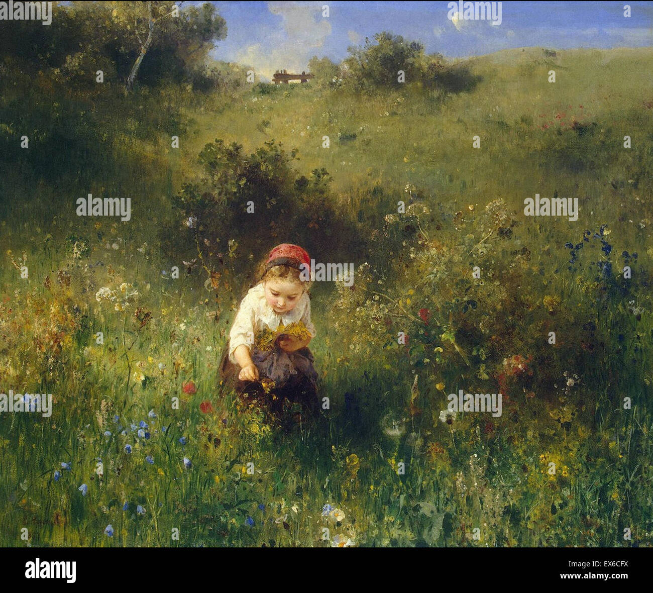 Ludwig Knaus  Girl in a Field - Stock Image