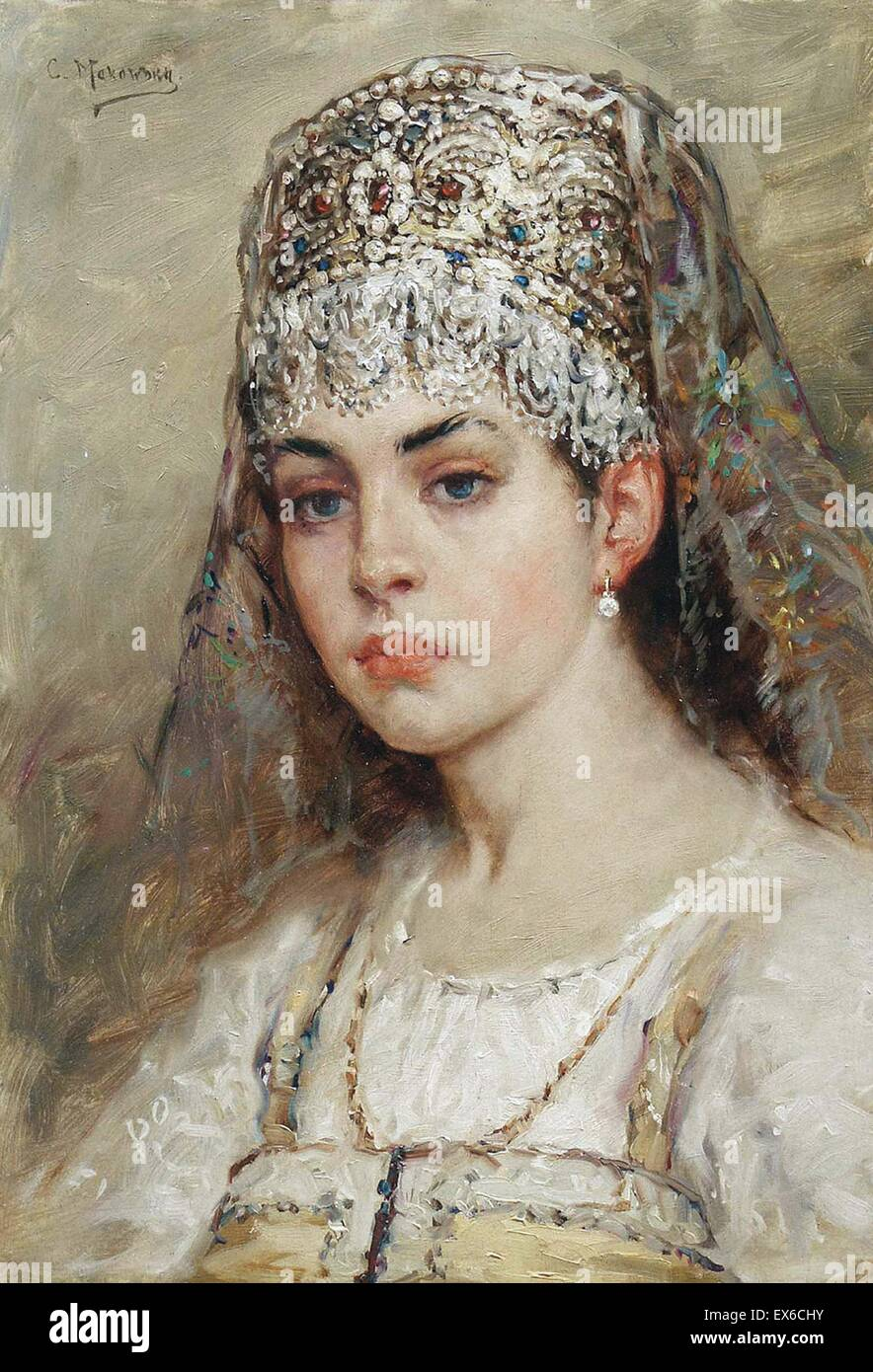 Konstantin Makovsky  Boyaryshnya - Stock Image