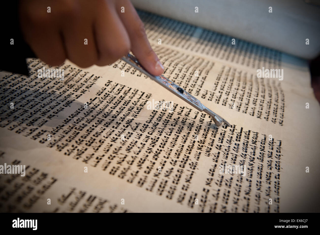 Taken during a bar mitzvah ceremony in a synagogue - Stock Image