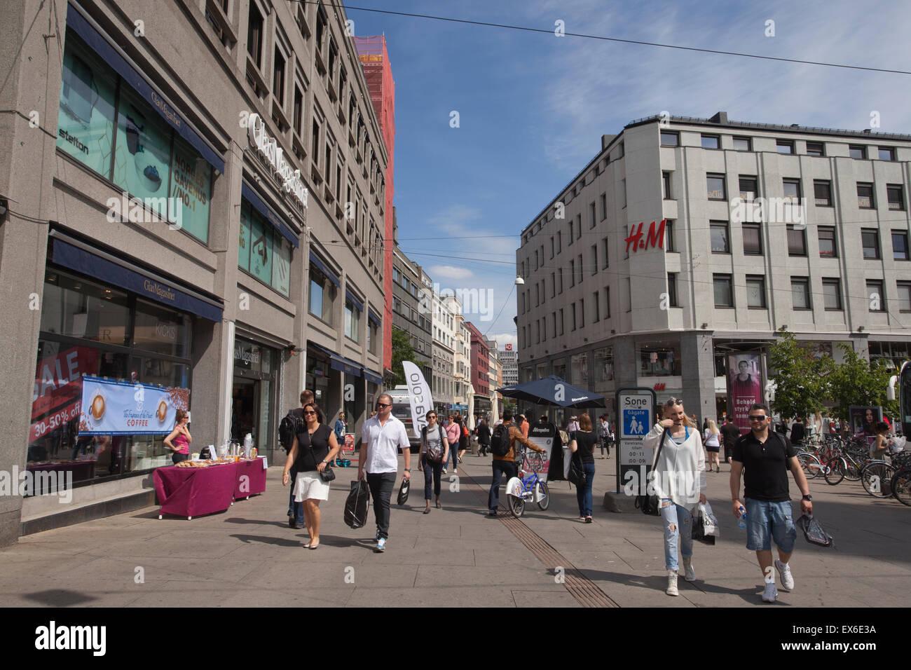 Torgata shopping street, Oslo sentrum, Oslo, Norway - Stock Image