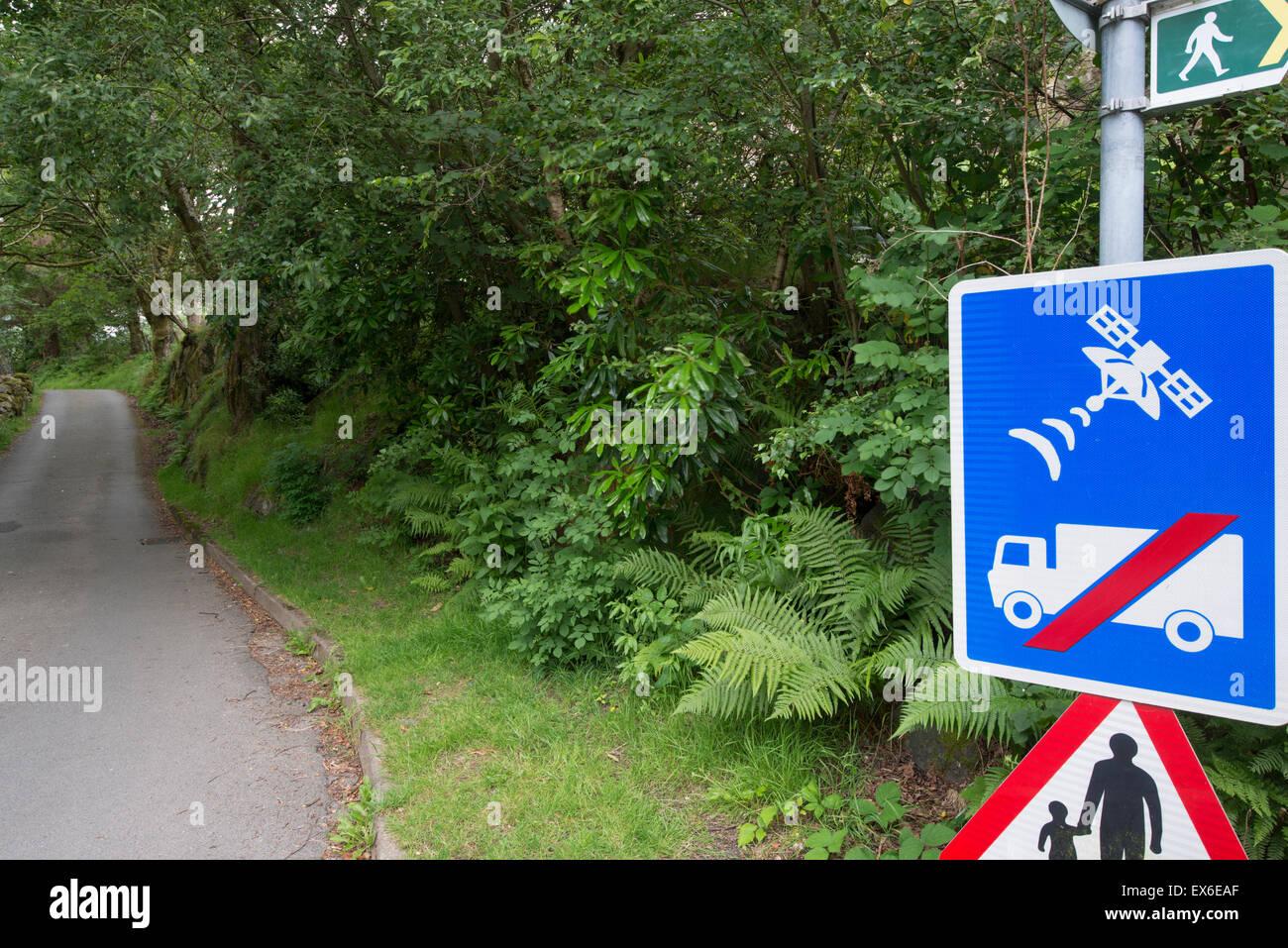 Sign warning lorries to ignore SatNav Directions, north Wales. - Stock Image