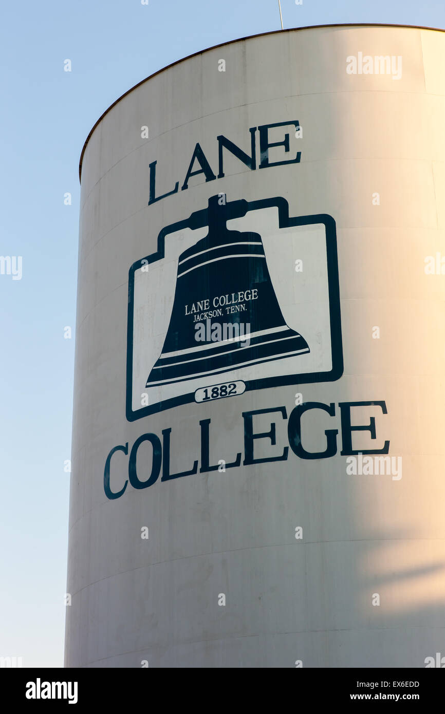 Water tower with school logo on the campus of Lane College in Jackson, Tennessee. - Stock Image