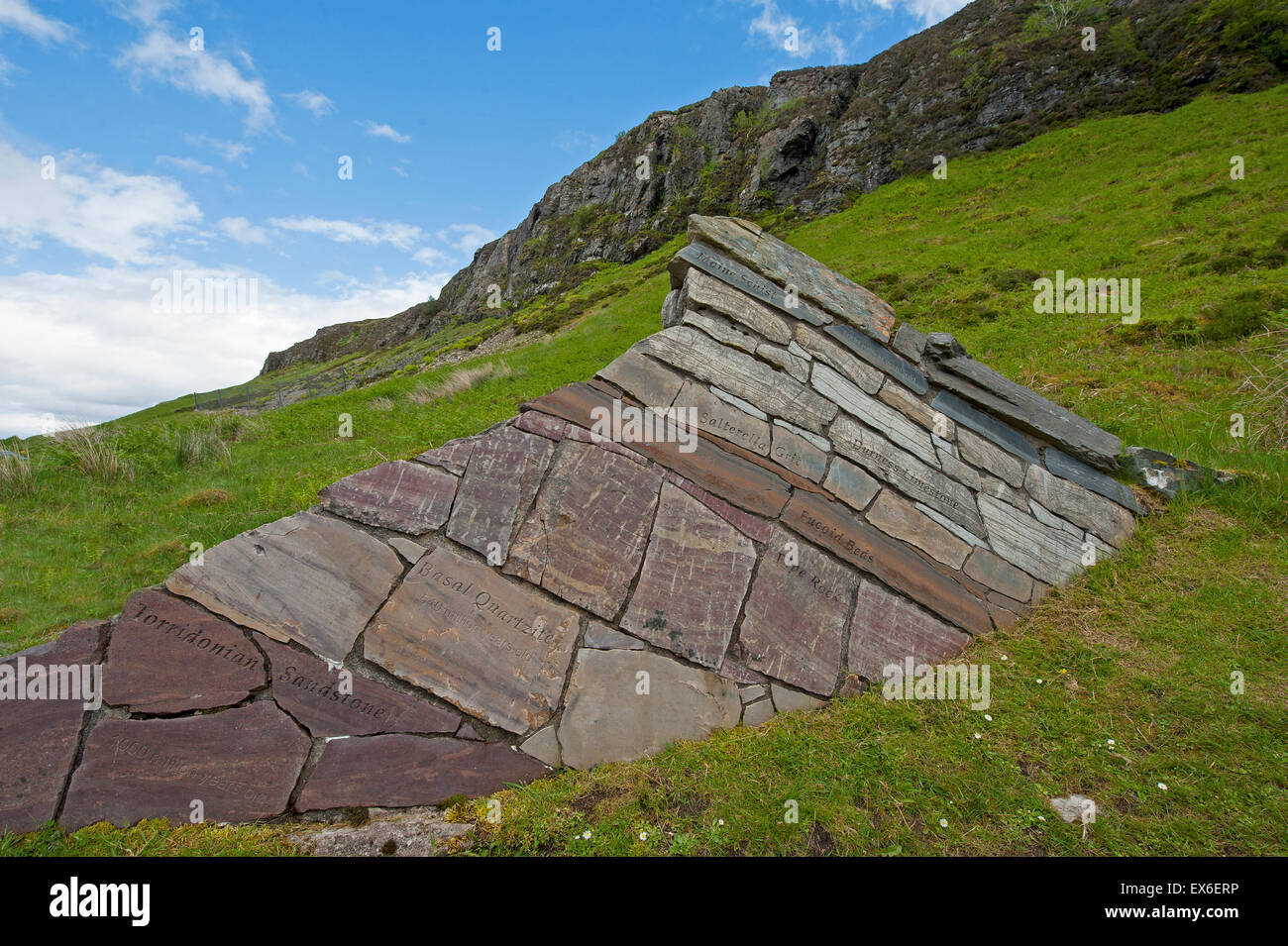 A man made 'wall' demonstrating the geological layers tilted by the Moine Thrust at Knockan Crag.  SCO 9903. Stock Photo