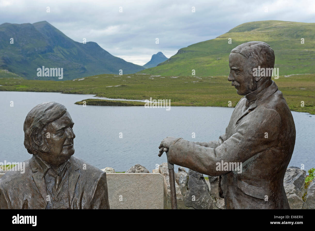 Bronze moldings depicting early geologists evolving their theory on the Moine Thrust at the Knockan Crag site.  Stock Photo