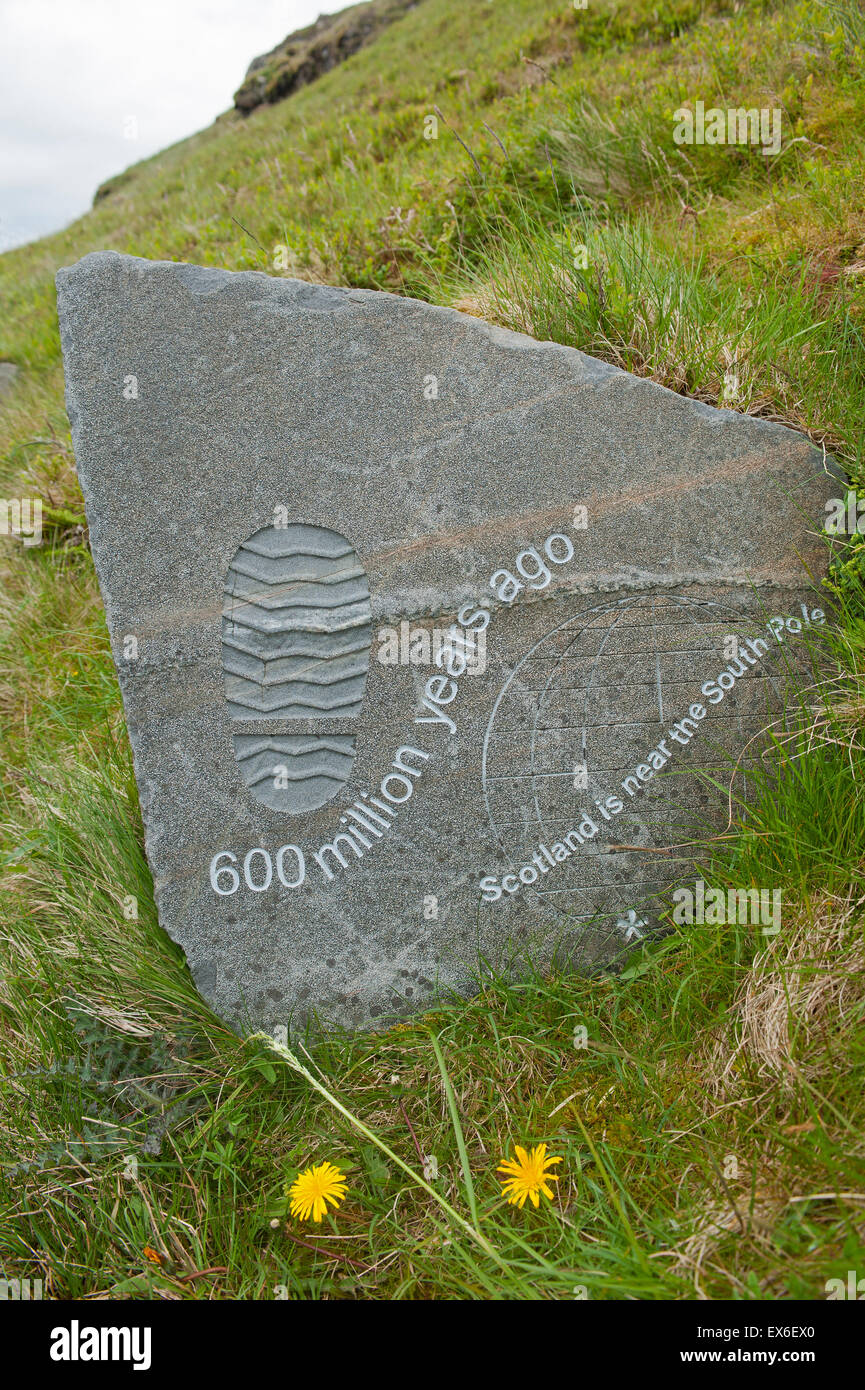 A trail marker outlining geological time on the Knockan Crag walk.  SCO 9909. Stock Photo