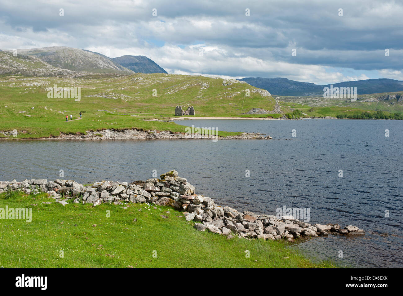 Inchnadamph mountains from the ruins of Ardvreck Castle on Loch Assynt in Sutherland.  SCO 9913. - Stock Image
