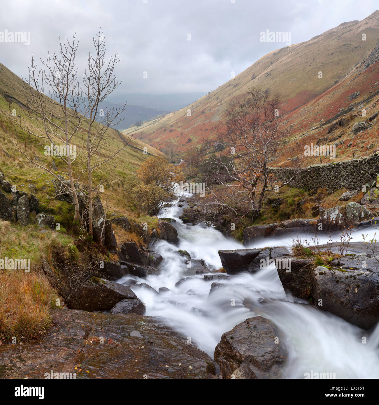 Hayeswater Gill autumn stream torent waterfall Lake District - Stock Image