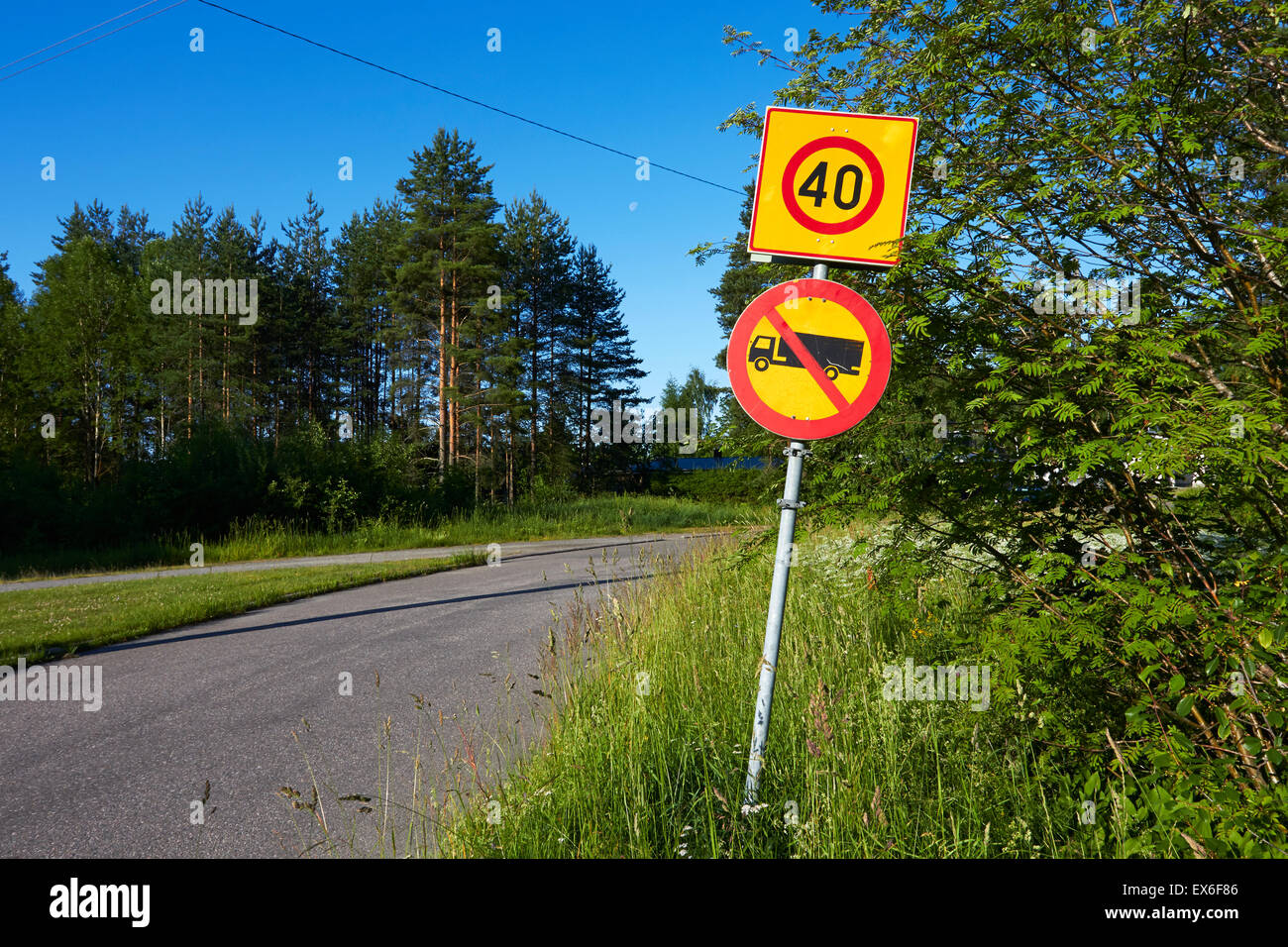 No entry for lorries and vans, traffic sign Finland - Stock Image