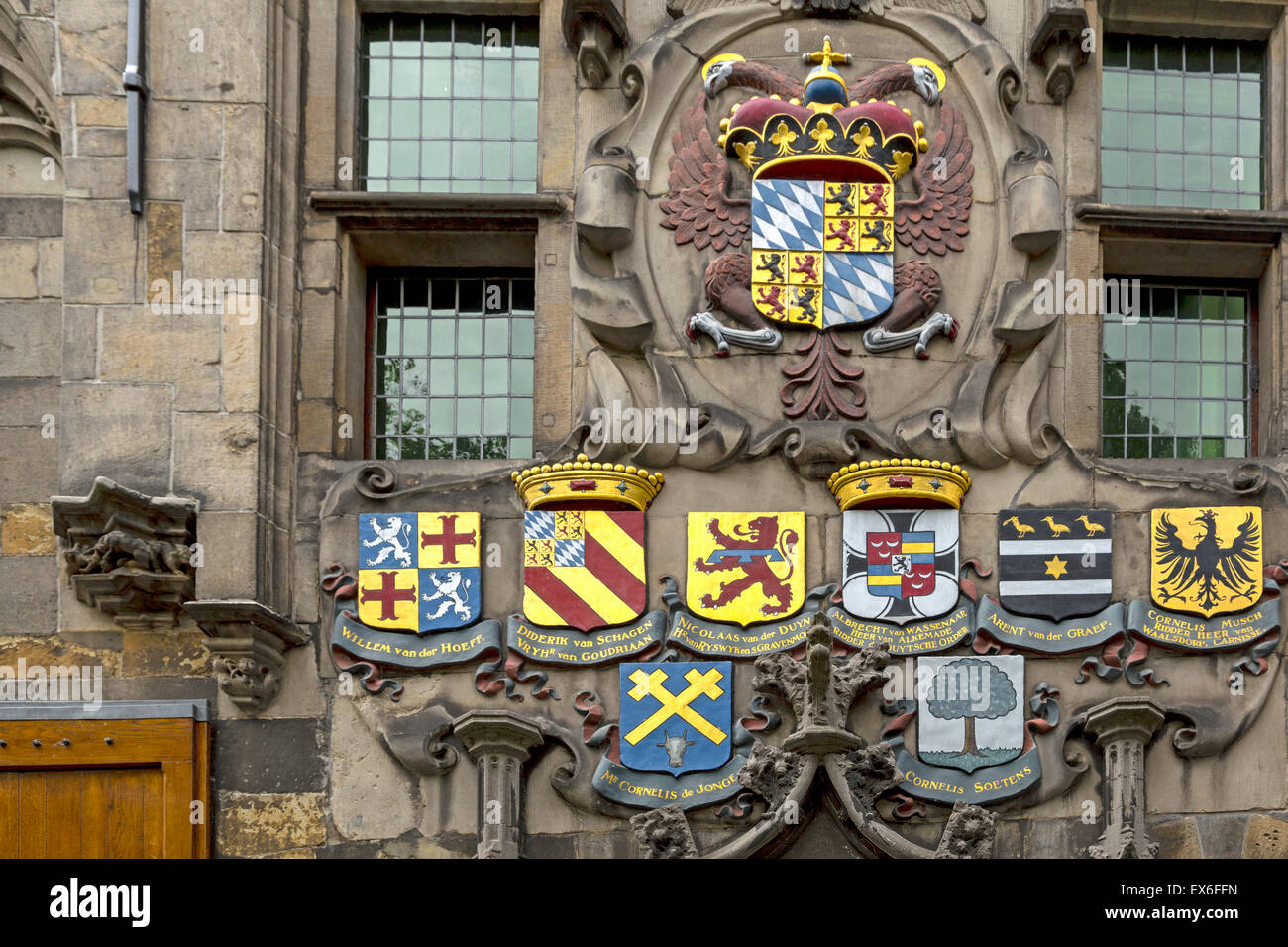 Facade of monumental home with numerous coats of arms, ''The arms of Savoy'', Oude Delft, Delft, - Stock Image
