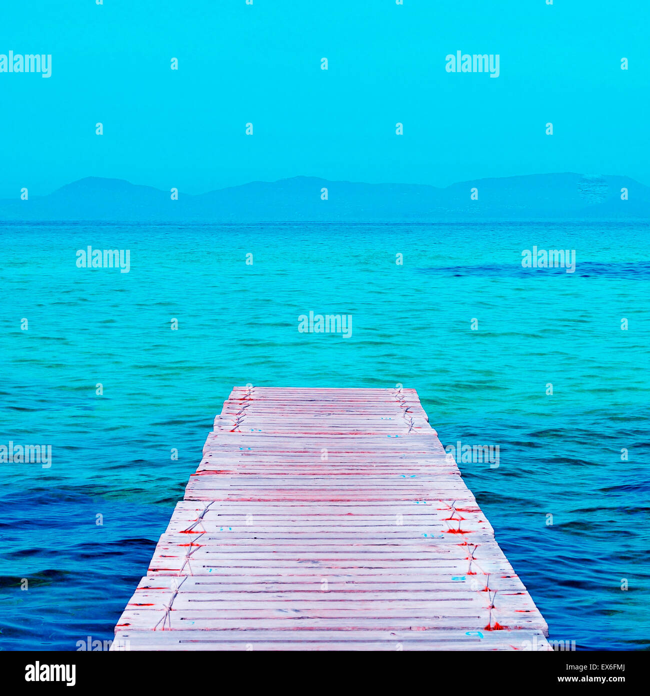 boardwalk in Ses Illetes Beach in Formentera, Balearic Islands - Stock Image
