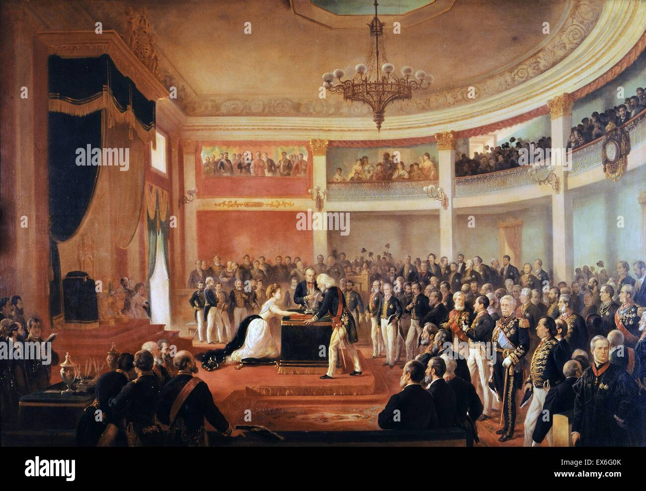 The Oath of the Princess Imperial Isabel, as Regent of the Empire of Brazil, circa 1870. Stock Photo