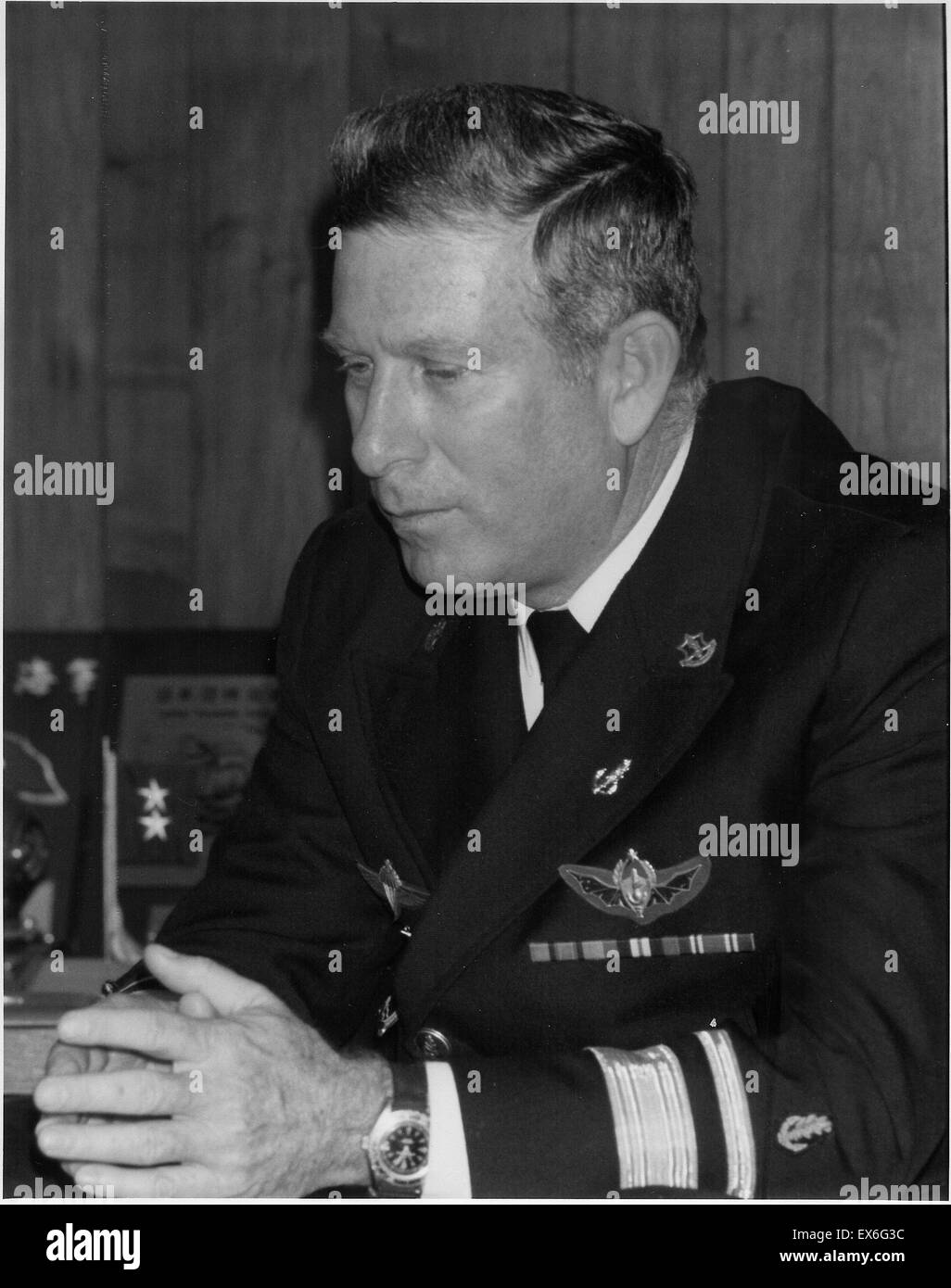 Zeev Almog (1935 - 1995)., was the Commander In Chief (C.I.C.) of the Israeli Navy from 1979-1985. He was also General - Stock Image