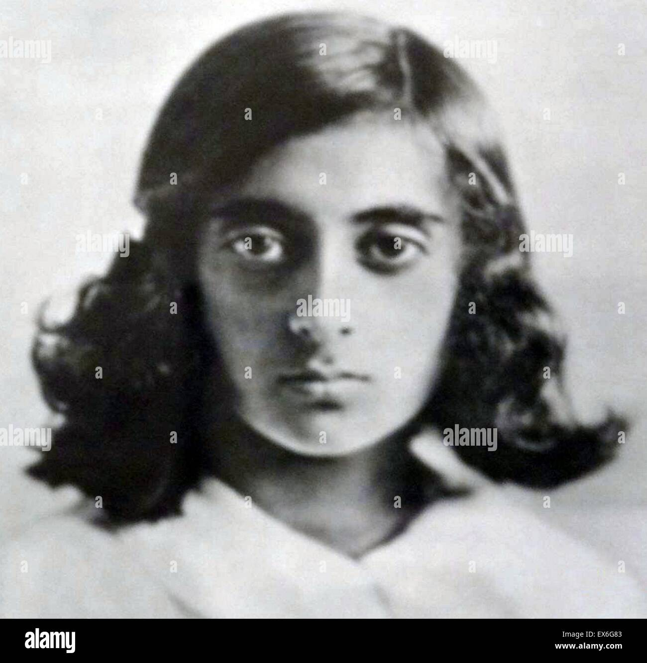 Indira Priyadarshini Gandhi (1917 – 1984) aged 10 in 1929. third Prime Minister of India and a central figure of - Stock Image