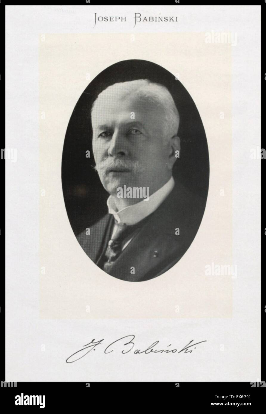 Joseph Jules François Félix Babinski (17 November 1857 – 29 October 1932) was a French neurologist of - Stock Image