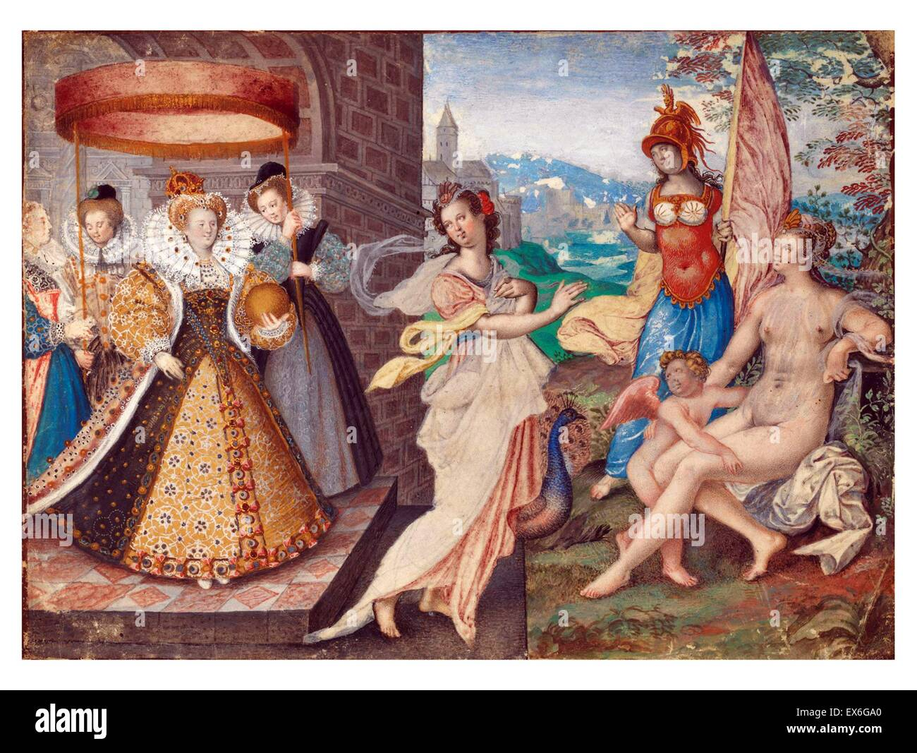 Queen Elizabeth I of England and the Three-Goddesses, by Isaac Oliver 1590 - Stock Image