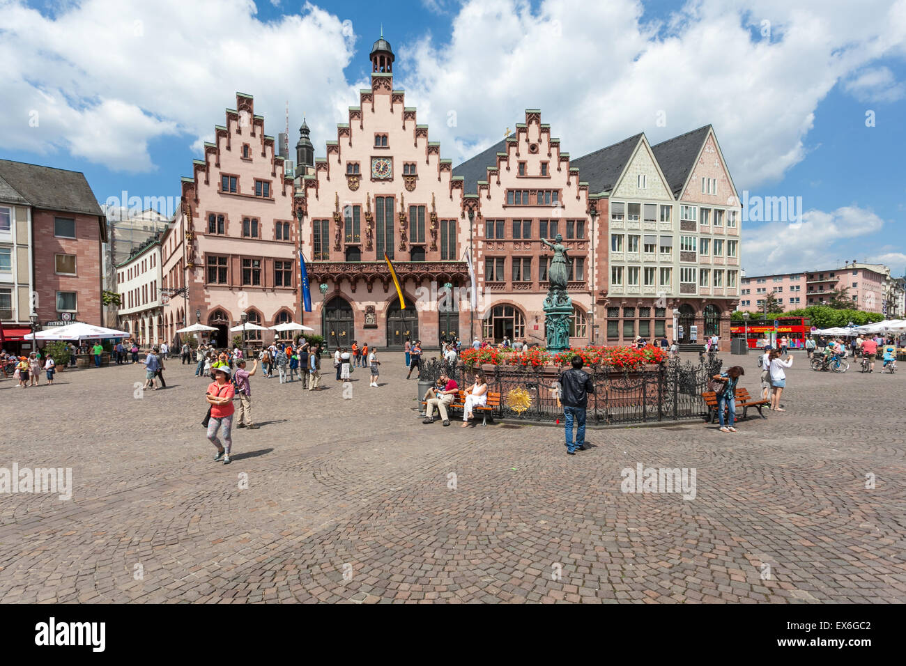 Historic Roemberberg square in the city of Frankfurt Main, Germany Stock Photo