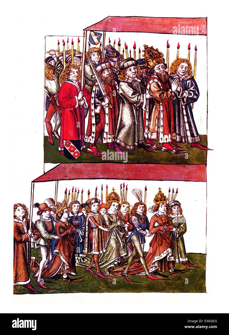 Sigismund and Barbara of Celje at the Council of Constance. Sigismund of Luxemburg (14 February 1368 – 9 December - Stock Image