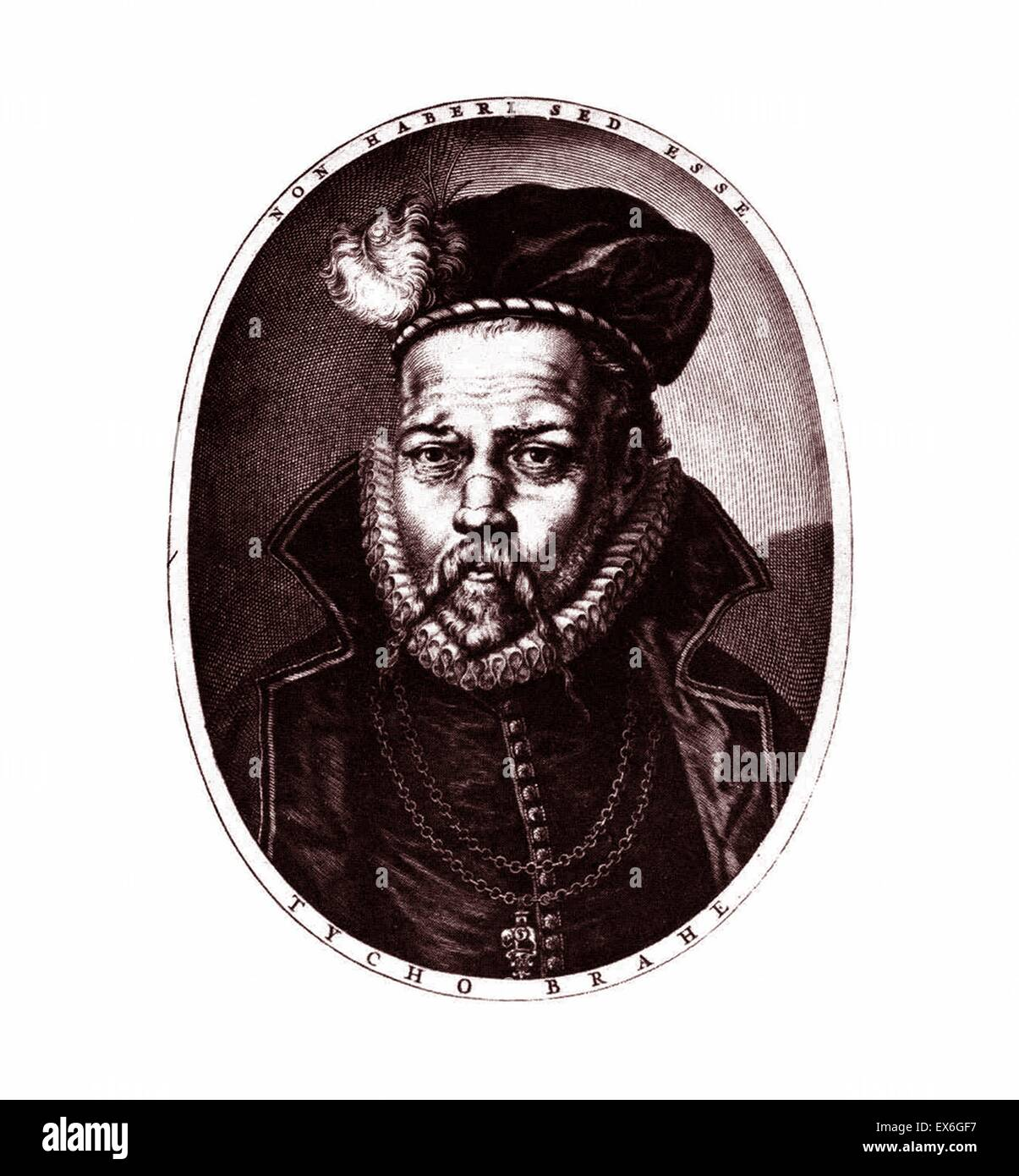 Portrait of Tycho Brahe (1546-1601) a Dnaish nobleman known for his accurate and comprehensive astronomical and - Stock Image
