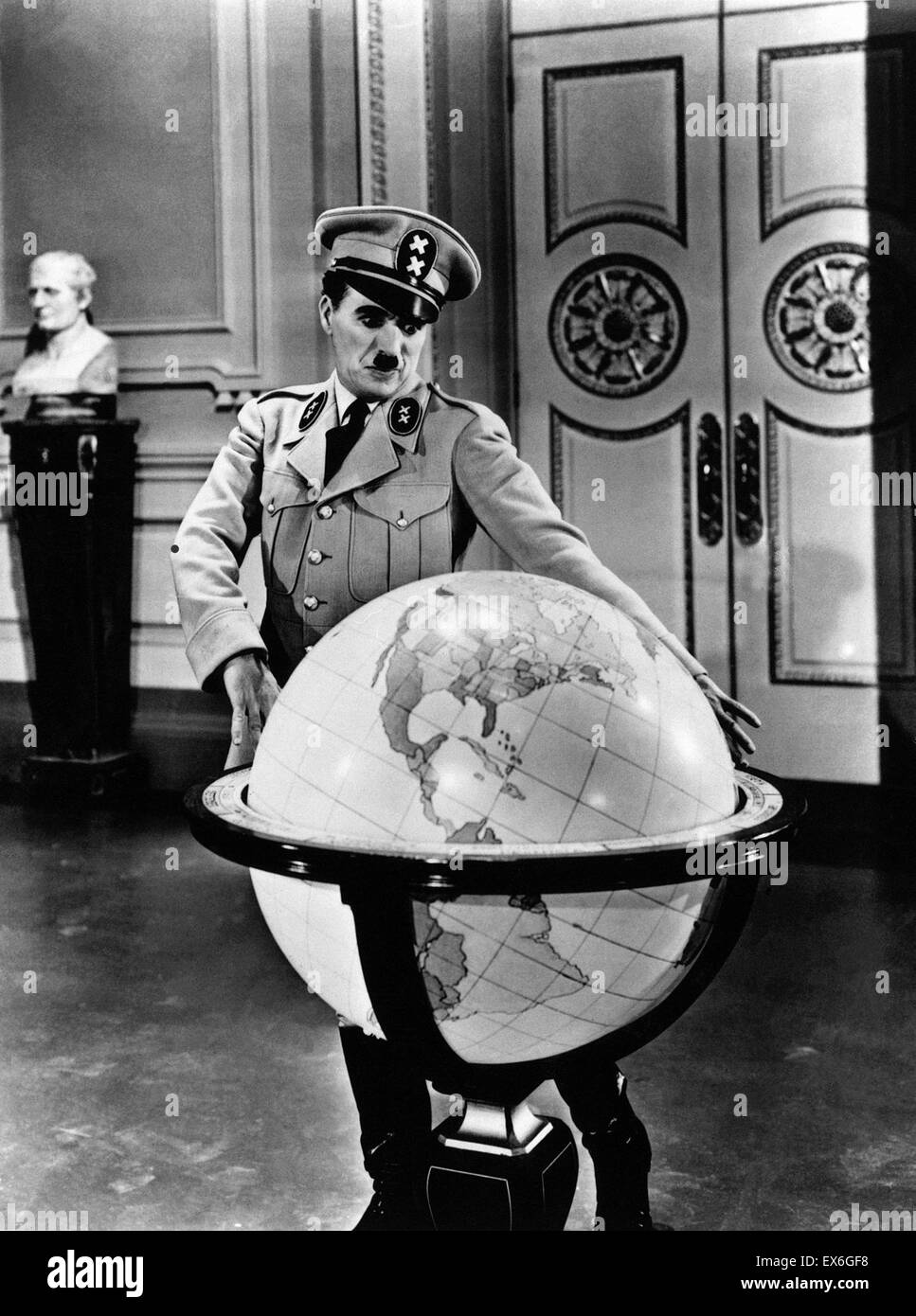 Film still from 'The Great Dictator' starring Charlie Chaplin (1889-1977) Chaplin also wrote, produced, - Stock Image