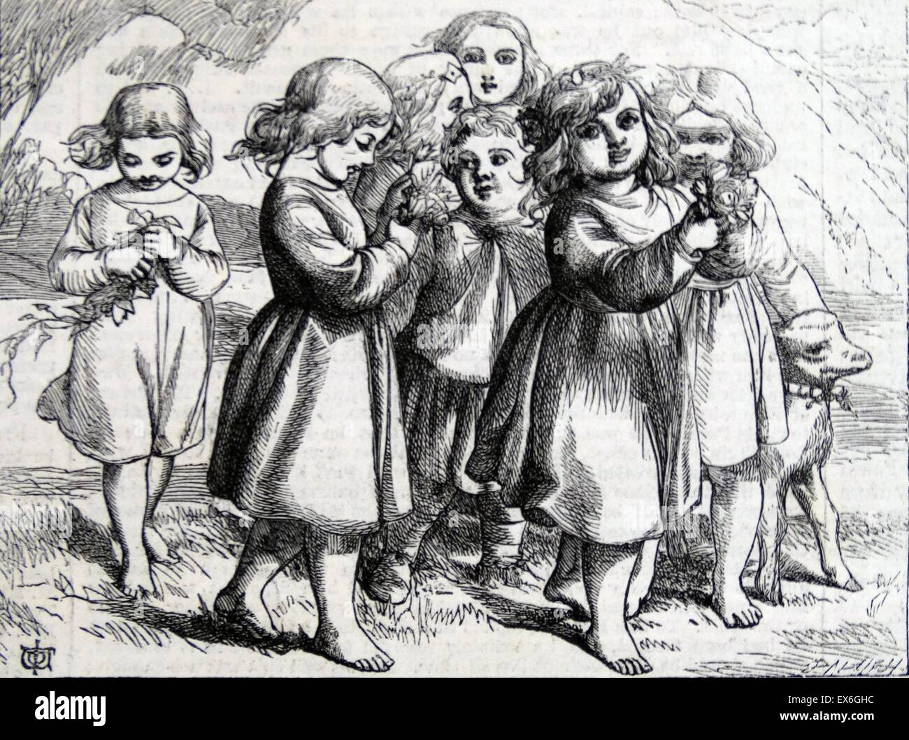 Engraving depicting young children offering flowers . Taken from the 'Pilgrim's Progress'. Dated 1860 - Stock Image