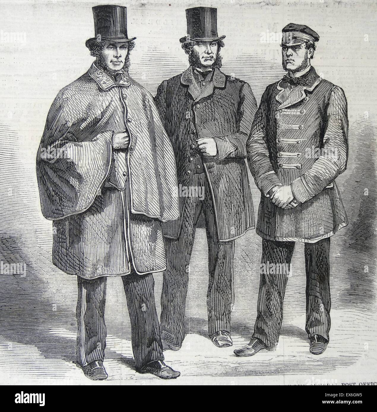 Engraving depicting the new uniforms of postal staff and the General Post Office. Left to right: Letter Carrier, Stock Photo