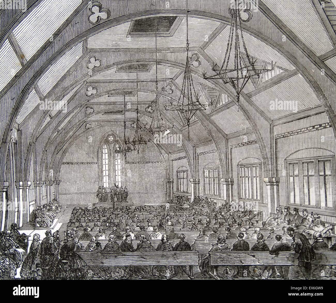 Engraving of the interior of the National School, St. Giles'-in-the-Fields. Dated 1860 - Stock Image