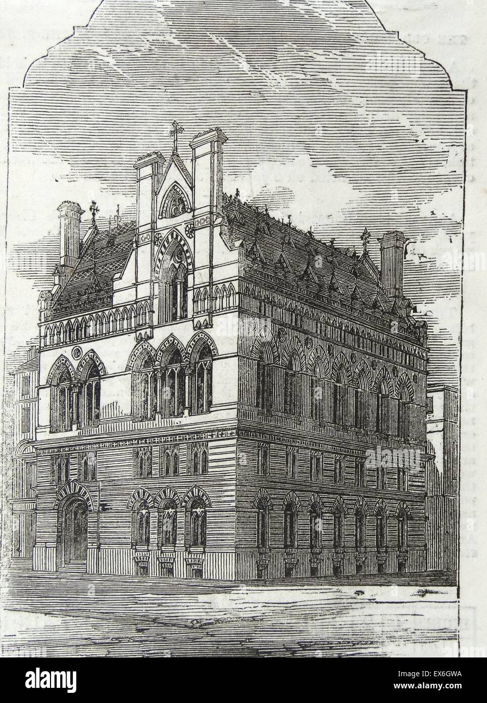 Engraving of the exterior of the National School, St. Giles'-in-the-Fields. Dated 1860 - Stock Image