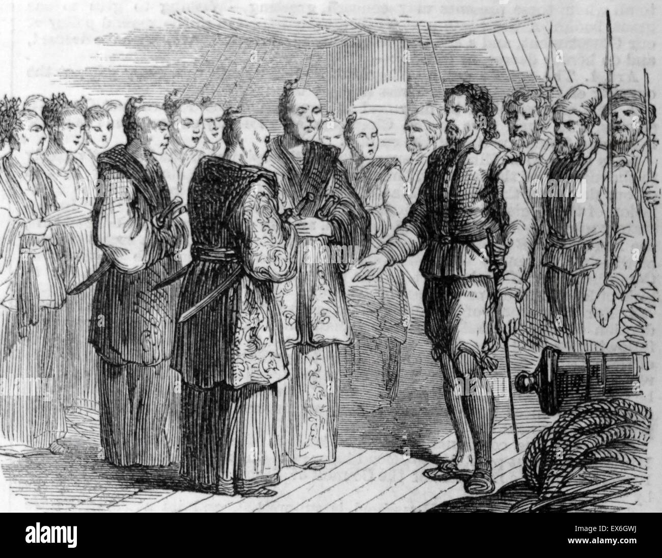 Engraving depicting the arrival of the first Englishman in Japan. Dated 1860 - Stock Image