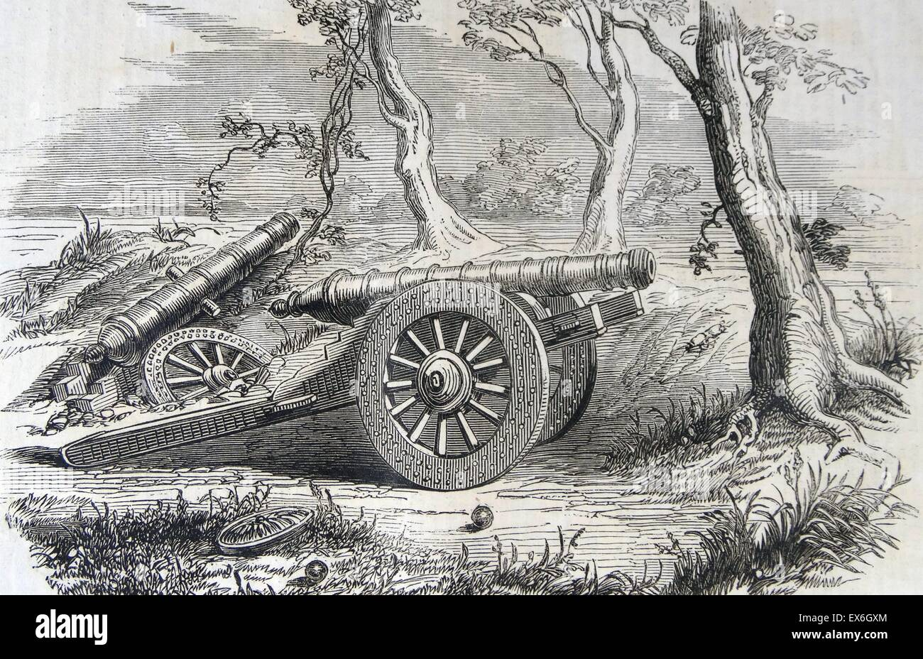 Engraving of a Chinese field gun used during the war in China. Dated 1860 - Stock Image
