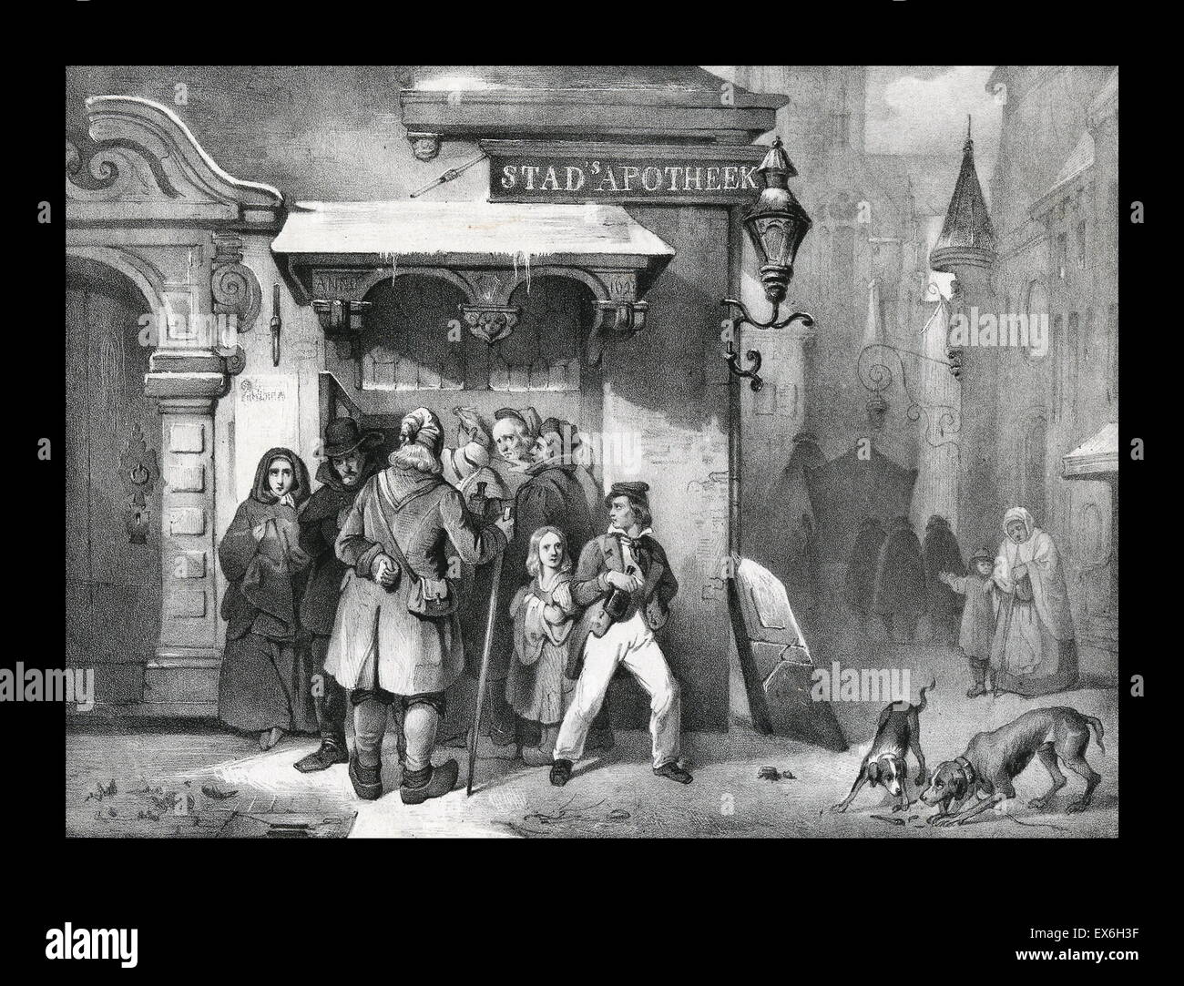 A wintery scene of a group of people standing under an apothecary's awning. The building reads 'Stad's - Stock Image