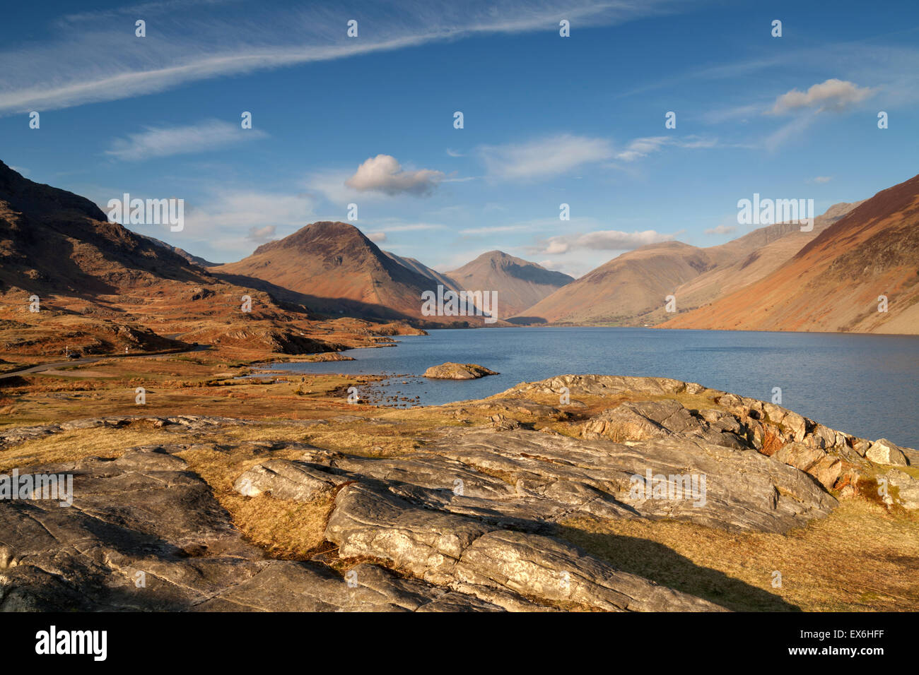 Wastwater and Wasdale Head Cumbria in late aftrenoon golden light, Lake District, UK - Stock Image