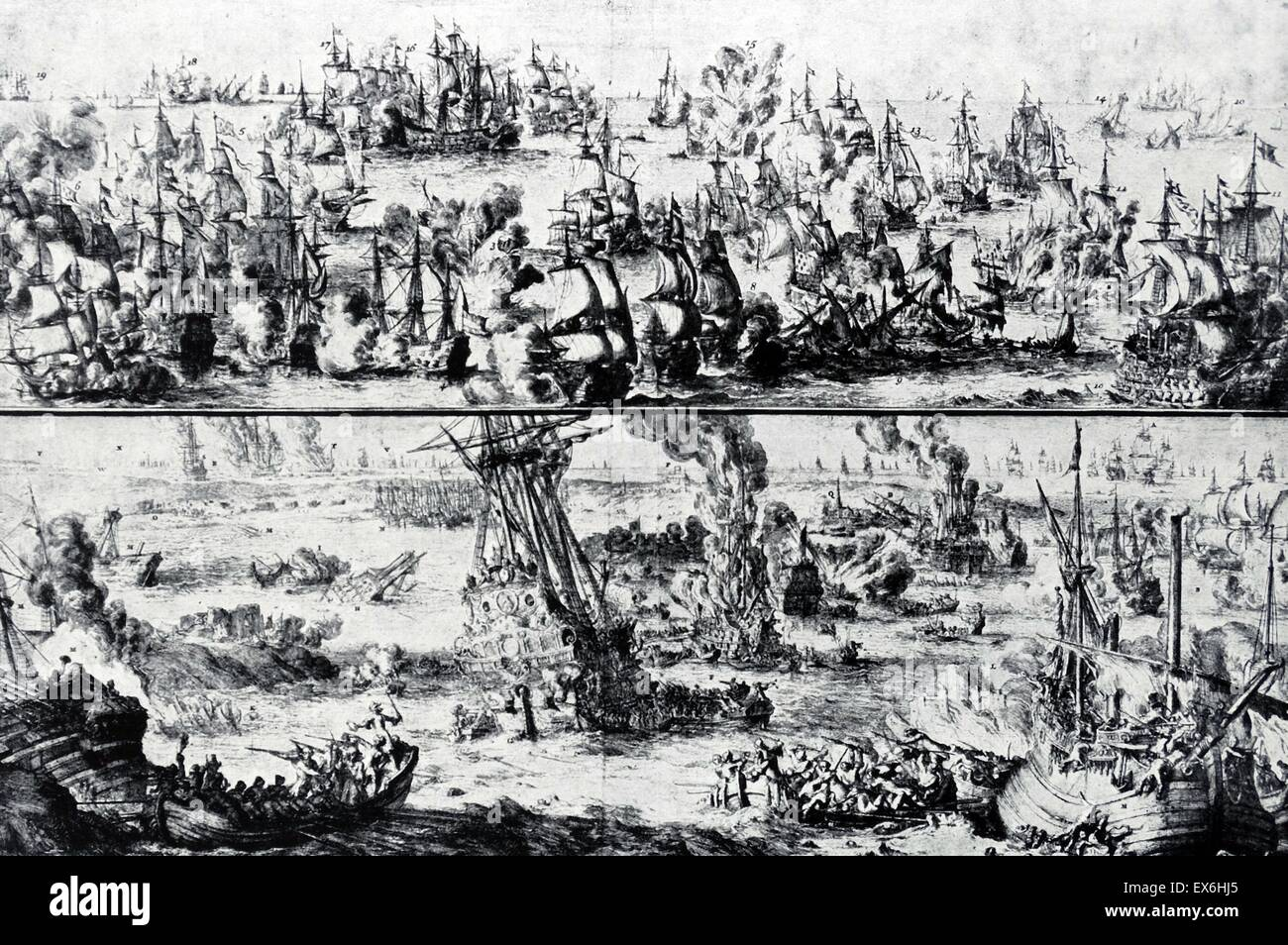 Etching of the Battles of Barfleur and La Hogue. Above: The Fleets engaged off Barfleur. Below: The Ambitieux and - Stock Image