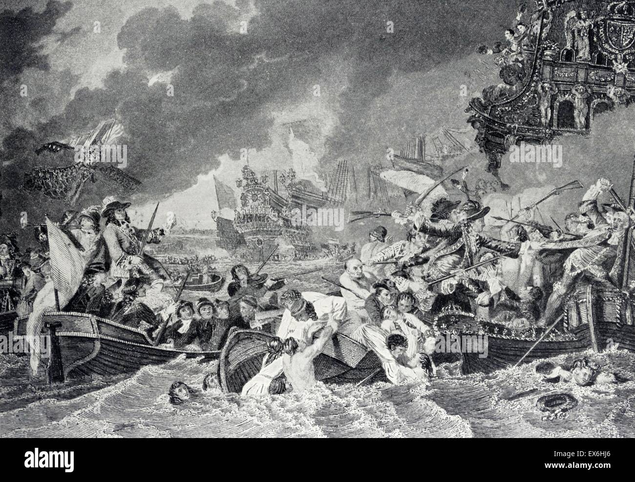 Line engraving of the Battle of La Hogue. The Soleil Royal and other French ships burned in Cherbourg Bay. Engraved - Stock Image