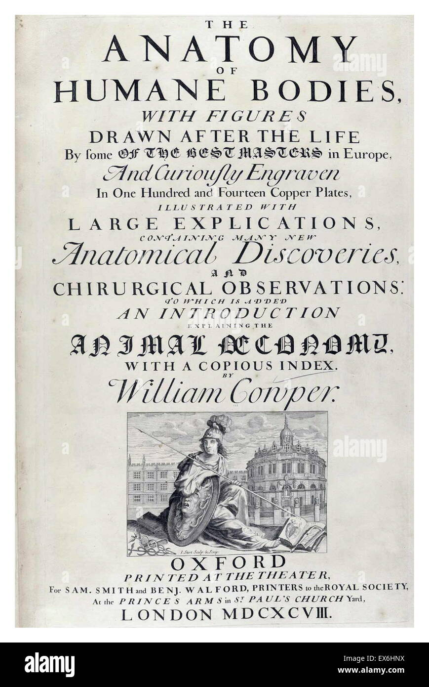 Text and illustration from 'The anatomy of humane bodies' by William Cowper, (Oxford, 1698) - Stock Image