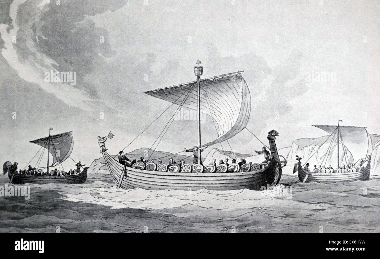 Aquatint of the ships of William the Conqueror based on the Bayeux Tapestry. Print by J. A. Atkinson. Dated 1811 - Stock Image
