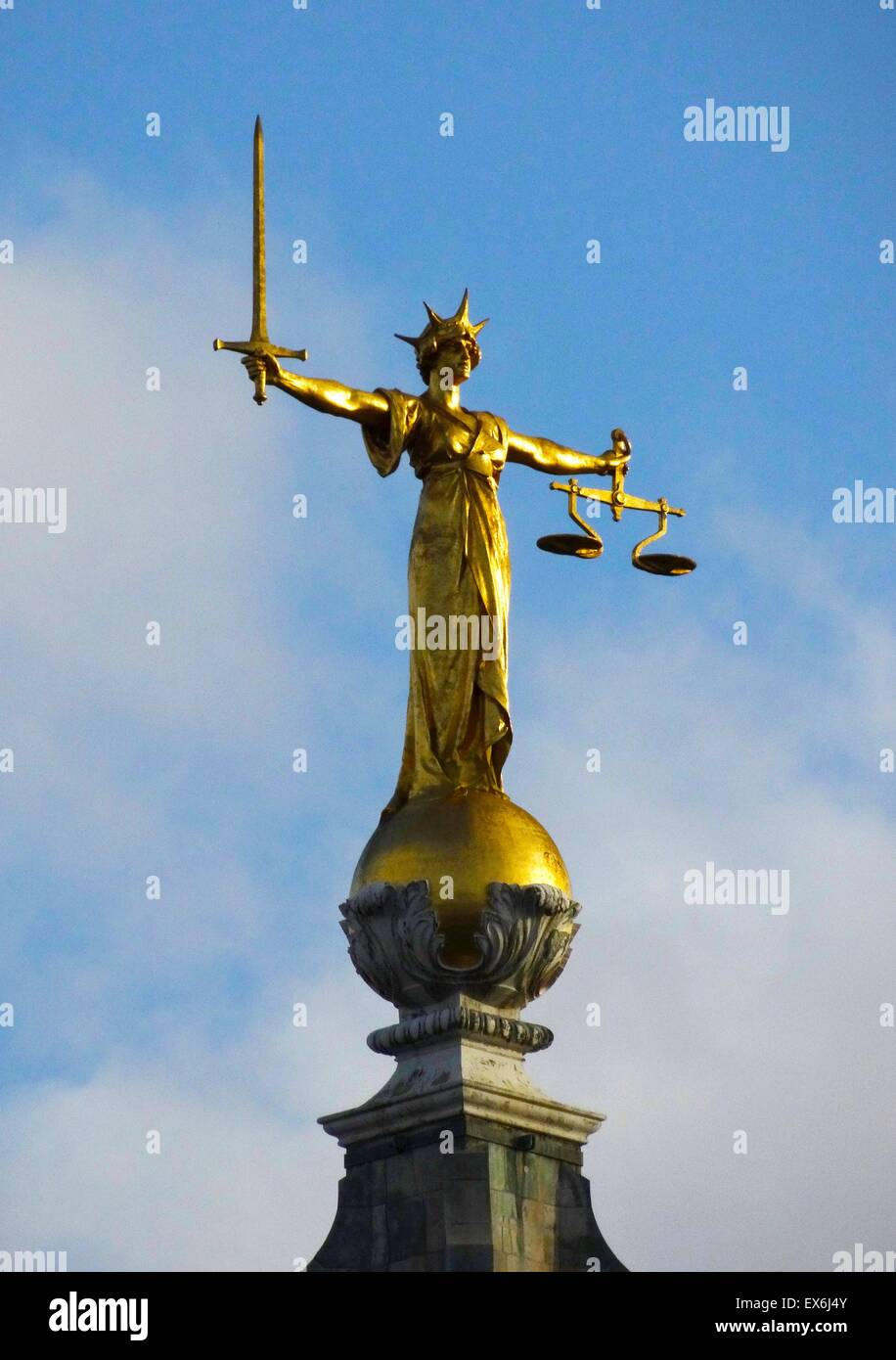9773569e64d Photograph of the statue of Lady Justice on top of the Old Bailey