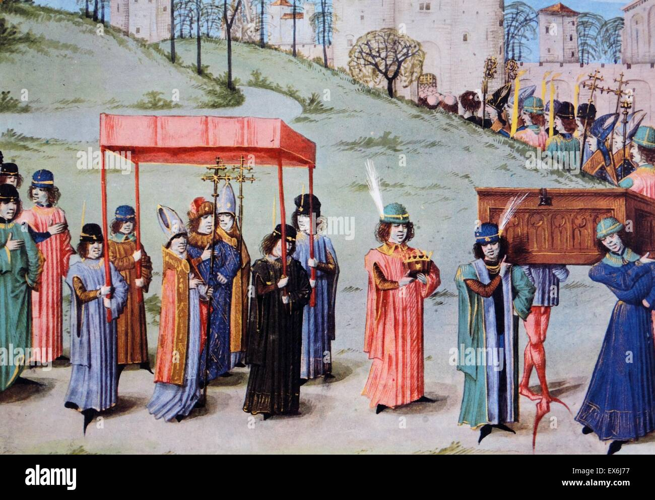 The coronation procession of Richard I in 1189. Depicted in the  fifteenth-century Les Anciennes et Nouvelles Chroniques d'Angleterre. From  The Island Race, ...