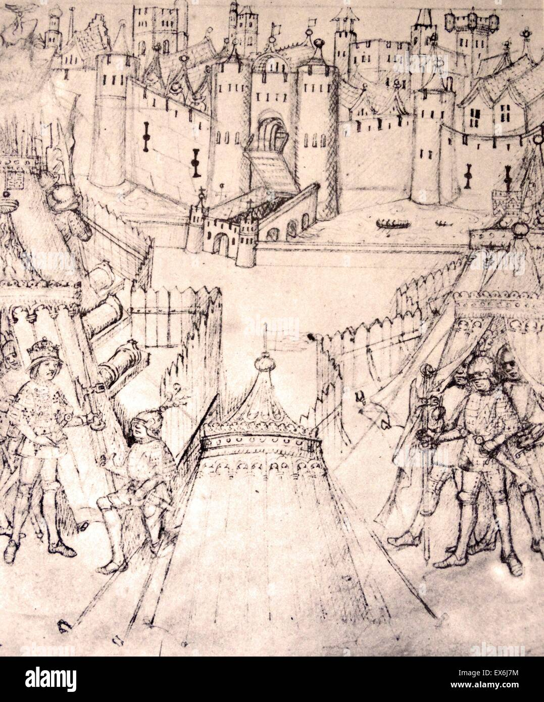 Henry V's siege of Rouen, 1418-19, from the fifteenth-century The Life and Acts of Richard Beauchamp, Earl of - Stock Image