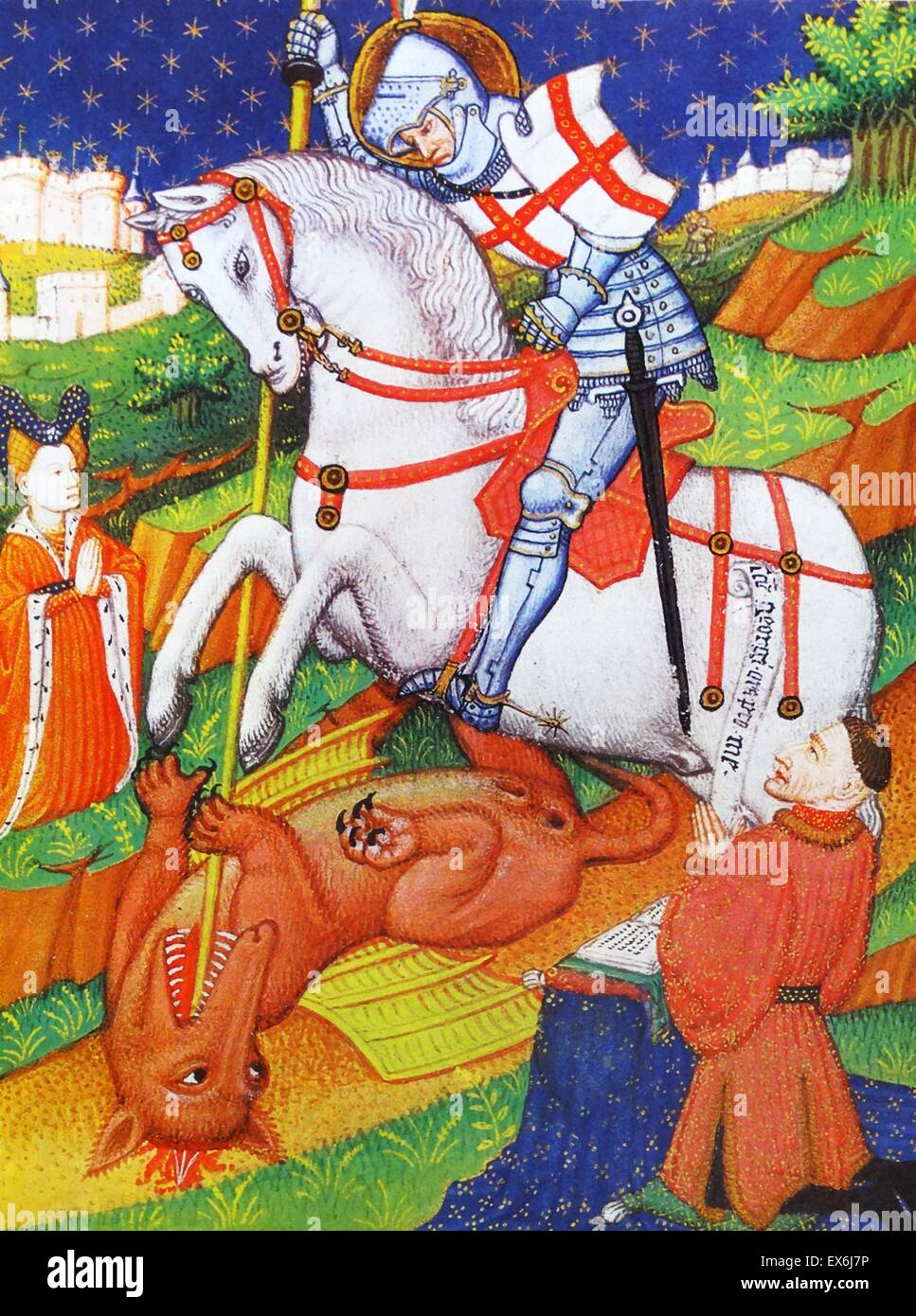 St. George killing the Dragon, an illustration from a Book of Hours, Normandy, 1430-40. From The Island Race, a - Stock Image